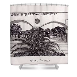Shower Curtain featuring the drawing Florida International University by Frederic Kohli