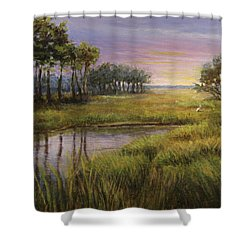 Florida Marsh Sunset Shower Curtain