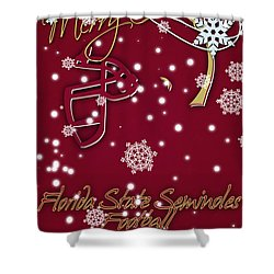 Florida State Seminoles Christmas Card Shower Curtain by Joe Hamilton