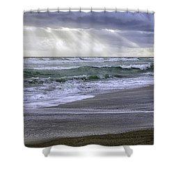 Florida Treasure Coast Beach Storm Waves Shower Curtain