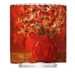 Shower Curtain featuring the painting Florists Red by P J Lewis