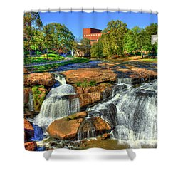 Flow On Reedy River Falls Park Art Greenville South Carolina Art Shower Curtain