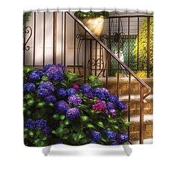 Flower - Hydrangea - Hydrangea And Geraniums  Shower Curtain by Mike Savad