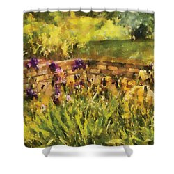 Flower - Iris - By The Bridge Shower Curtain by Mike Savad