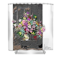 Shower Curtain featuring the mixed media Flower Arrangement by Larry Talley