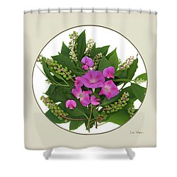 Flower Bouquet And Leaf Series Button Shower Curtain