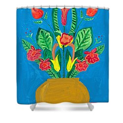 Flower Bowl Shower Curtain by Margie-Lee Rodriguez