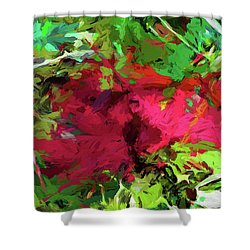 Flower Christmas Red Green Pink Shower Curtain
