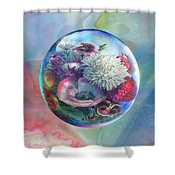 Shower Curtain featuring the painting Flower Drop Blues by Robin Moline