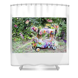 Flower Fairies In A Flower Mobile Shower Curtain by Lise Winne