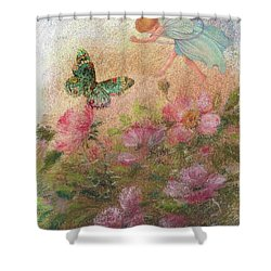 Flower Fairy Butterfly Roses Shower Curtain