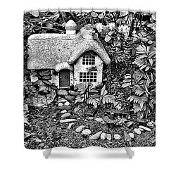 Flower Garden Cottage In Black And White Shower Curtain