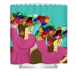 Flower Girls In The Market Shower Curtain by Haleh Mahbod