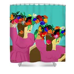 Flower Girls In The Market Shower Curtain