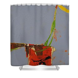 Shower Curtain featuring the painting Flower In Pitcher- Abstract Of Course by Cliff Spohn
