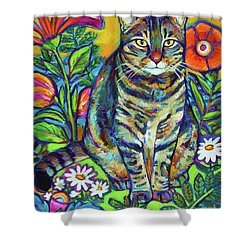 Flower Kitty Shower Curtain by Robert Phelps