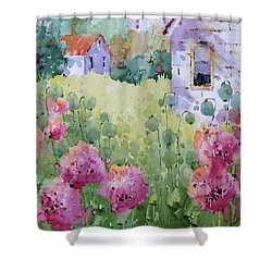 Flower Lady's Poppies Shower Curtain