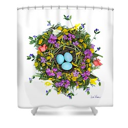 Flower Nest Shower Curtain by Lise Winne
