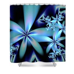 Flower Power Blue Shower Curtain