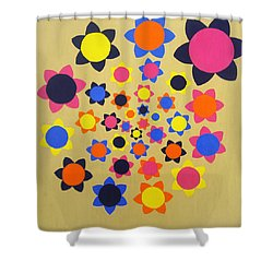 Flower Shower Shower Curtain by Oliver Johnston