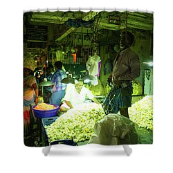 Shower Curtain featuring the photograph Flower Stalls Market Chennai India by Mike Reid