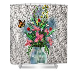 Shower Curtain featuring the digital art Flower Study Three by Darren Cannell