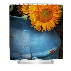 Flower - Sunflower - Little Blue Sunshine  Shower Curtain by Mike Savad