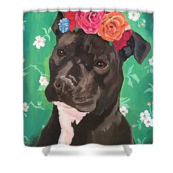 Flower The Pitbull Shower Curtain by Elisa Bolanos