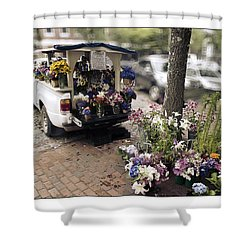 Flower Truck On Nantucket Shower Curtain by Tammy Wetzel