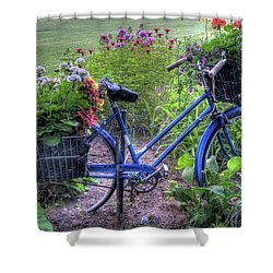 Flowered Bicycle Shower Curtain