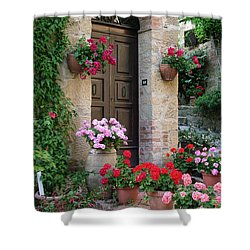 Flowered Montechiello Door Shower Curtain