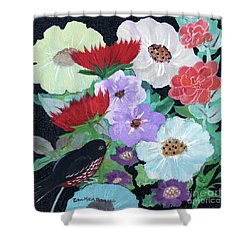 Shower Curtain featuring the painting Floweret by Robin Maria Pedrero