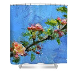 Flowering Apple Branch Shower Curtain by Dragica Micki Fortuna