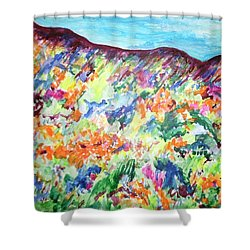 Flowering Hills Shower Curtain by Esther Newman-Cohen