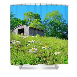 Flowering Hillside Meadow - View 2 Shower Curtain
