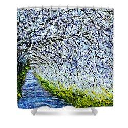 Flowering Tree Lane Shower Curtain