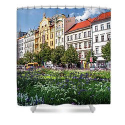 Shower Curtain featuring the photograph Flowering Wenceslas Square In Prague by Jenny Rainbow