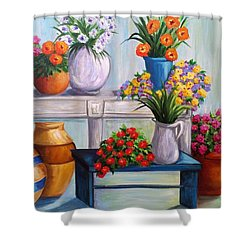 Flowerpots Shower Curtain