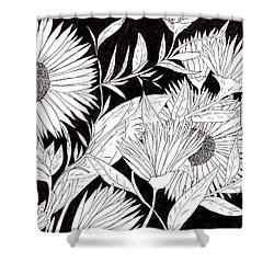 Shower Curtain featuring the drawing Flowers 2 by Lou Belcher