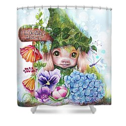 Shower Curtain featuring the mixed media Flowers 4 Sale - Garden Whimzies Collection by Sheena Pike