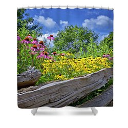 Flowers Along A Wooden Fence Shower Curtain