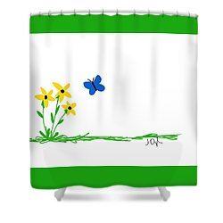 Flowers And A Butterfly Shower Curtain