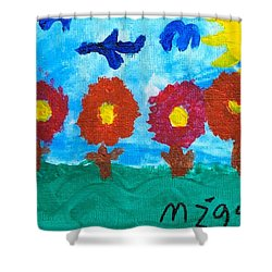 Shower Curtain featuring the painting Flowers And Airplane by Artists With Autism Inc