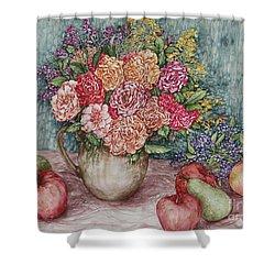 Flowers And Fruit Arrangement Shower Curtain
