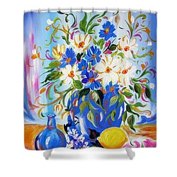 Flowers And Lemon Shower Curtain