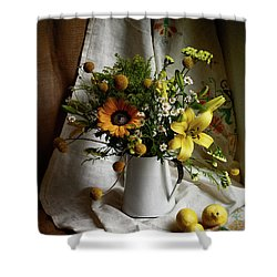 Flowers And Lemons Shower Curtain
