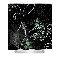 Flowers And Rain Shower Curtain