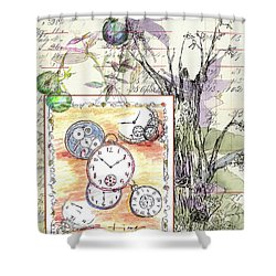 Shower Curtain featuring the drawing Flowers And Time by Cathie Richardson