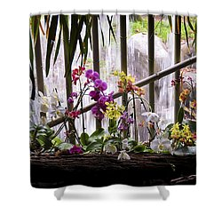 Flowers And Waterfall Shower Curtain