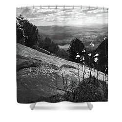 Flowers At Table Rock Overlook In Black And White Three Shower Curtain by Kelly Hazel